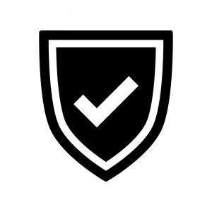 盾とチェックマークの白黒シルエットイラスト02