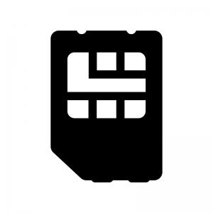 SIMカードの白黒シルエットイラスト