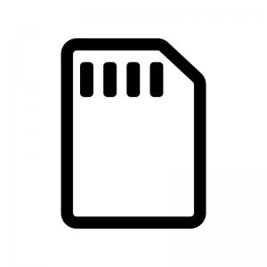 SIMカードの白黒シルエットイラスト06