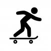 スケートボードをする人の白黒シルエットイラスト02
