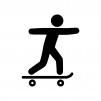 スケートボードをする人の白黒シルエットイラスト03