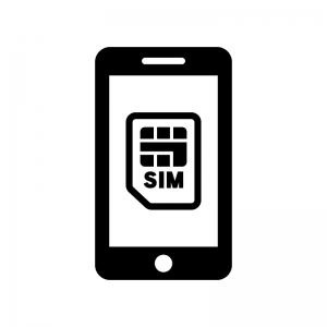 スマホとSIMカードの白黒シルエットイラスト02