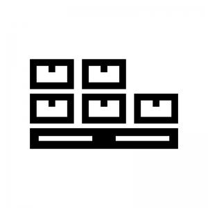 倉庫の荷物の白黒シルエットイラスト