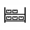 倉庫の荷物の白黒シルエットイラスト02