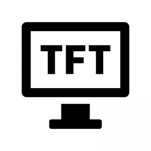 TFT液晶モニタの白黒シルエットイラスト