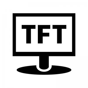 TFT液晶モニタの白黒シルエットイラスト02
