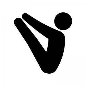 ヨガのV字バランスのポーズの白黒シルエットイラスト