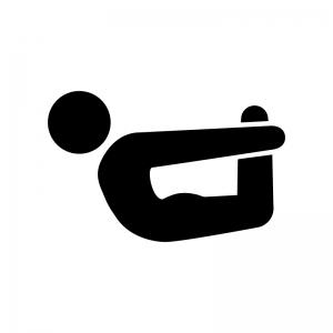 ヨガの弓のポーズの白黒シルエットイラスト