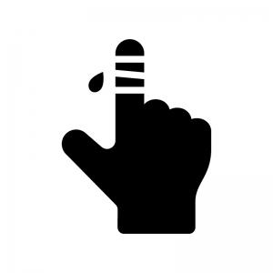 指の怪我の白黒シルエットイラスト