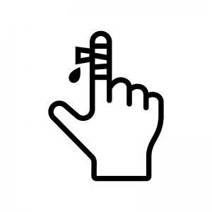 指の怪我の白黒シルエットイラスト02