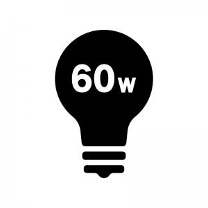 60W電球の白黒シルエットイラスト