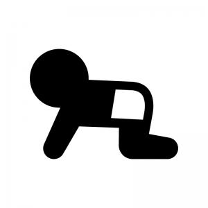 ハイハイする赤ちゃんの白黒シルエットイラスト