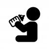 ミルクを飲む赤ちゃんの白黒シルエットイラスト