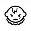 泣いている赤ちゃんの顔の白黒シルエットイラスト