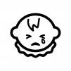 泣いている赤ちゃんの顔の白黒シルエットイラスト02