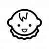 笑っている赤ちゃんの顔の白黒シルエットイラスト