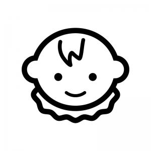 笑っている赤ちゃんの顔の白黒シルエットイラスト02