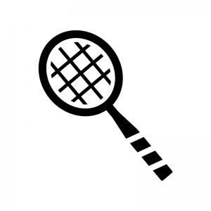 バドミントンのラケットの白黒シルエットイラスト