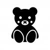 クマのぬいぐるみの白黒シルエットイラスト02