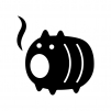 豚の蚊取り線香の白黒シルエットイラスト