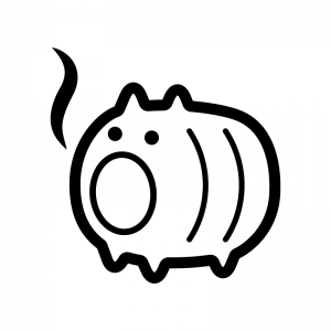 豚の蚊取り線香の白黒シルエットイラスト02