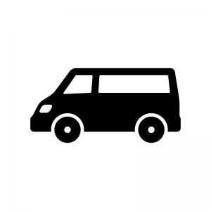 自動車・ミニバンの白黒シルエットイラスト