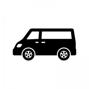 自動車・ミニバンの白黒シルエットイラスト02