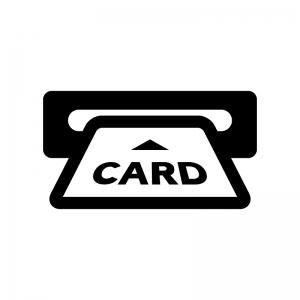 カードを入れる白黒シルエットイラスト