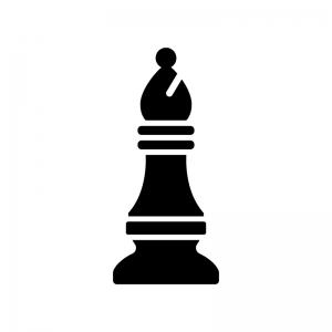 チェス・ビショップの白黒シルエットイラスト
