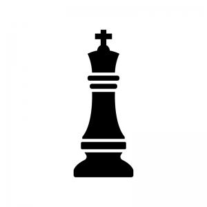 チェス・キングの白黒シルエットイラスト