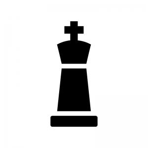 チェス・キングの白黒シルエットイラスト02