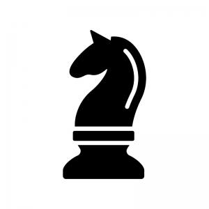 チェス・ナイトの白黒シルエットイラスト