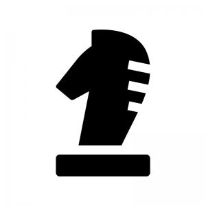 チェス・ナイトの白黒シルエットイラスト02