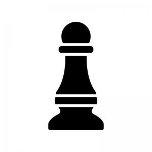 チェス・ポーンの白黒シルエットイラスト