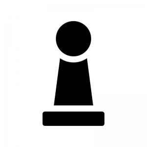 チェス・ポーンの白黒シルエットイラスト02