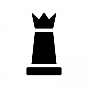 チェス・クイーンの白黒シルエットイラスト02
