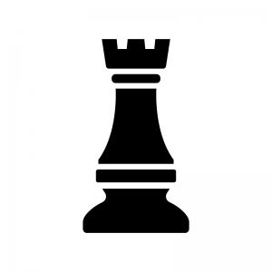 チェス・ルークの白黒シルエットイラスト