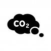 二酸化炭素(CO2)の白黒シルエットイラスト
