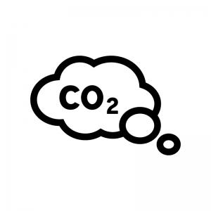 二酸化炭素(CO2)の白黒シルエットイラスト02