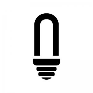 コンパクト蛍光灯の白黒シルエットイラスト
