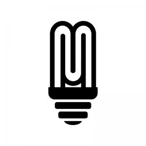 コンパクト蛍光灯の白黒シルエットイラスト03