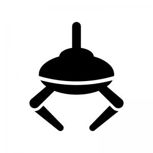 クレーンゲームの白黒シルエットイラスト