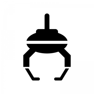 クレーンゲームの白黒シルエットイラスト02