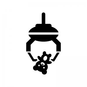 クレーンゲームでキャッチの白黒シルエットイラスト02