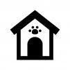 犬小屋の白黒シルエットイラスト
