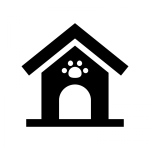 犬小屋の白黒シルエットイラスト02