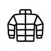 ダウンジャケットの白黒シルエットイラスト02