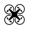 ドローンの白黒シルエットイラスト02