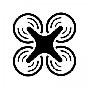 ドローンの白黒シルエットイラスト03