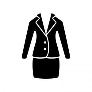 ジャケットとスカートの白黒シルエットイラスト